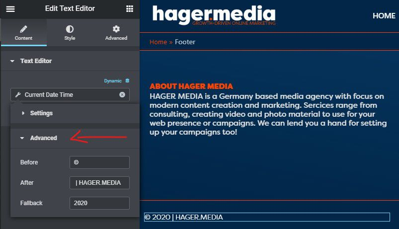 HAGER MEDIA elementor-dynamic-date-field-advanced-stettings How To Add Dynamic Copyright Date & Auto Update Current Year In WordPress Footer How To's  Wordpress Elementor
