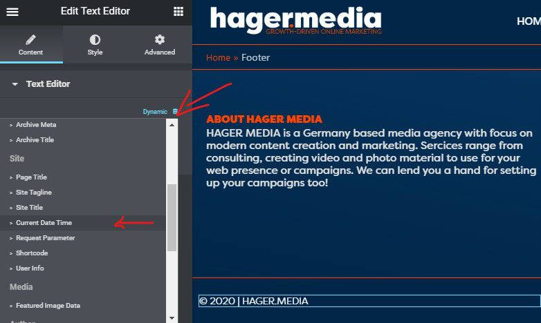 HAGER MEDIA elementor-dynamic-date-field How To Add Dynamic Copyright Date & Auto Update Current Year In WordPress Footer How To's  Wordpress Elementor